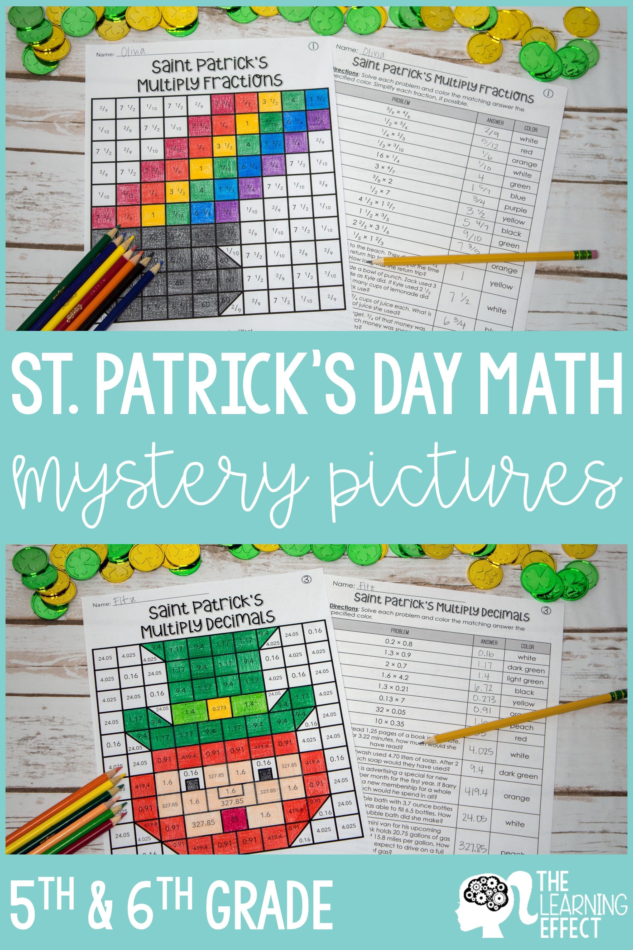 St Patrick S Day Math Mystery Pictures