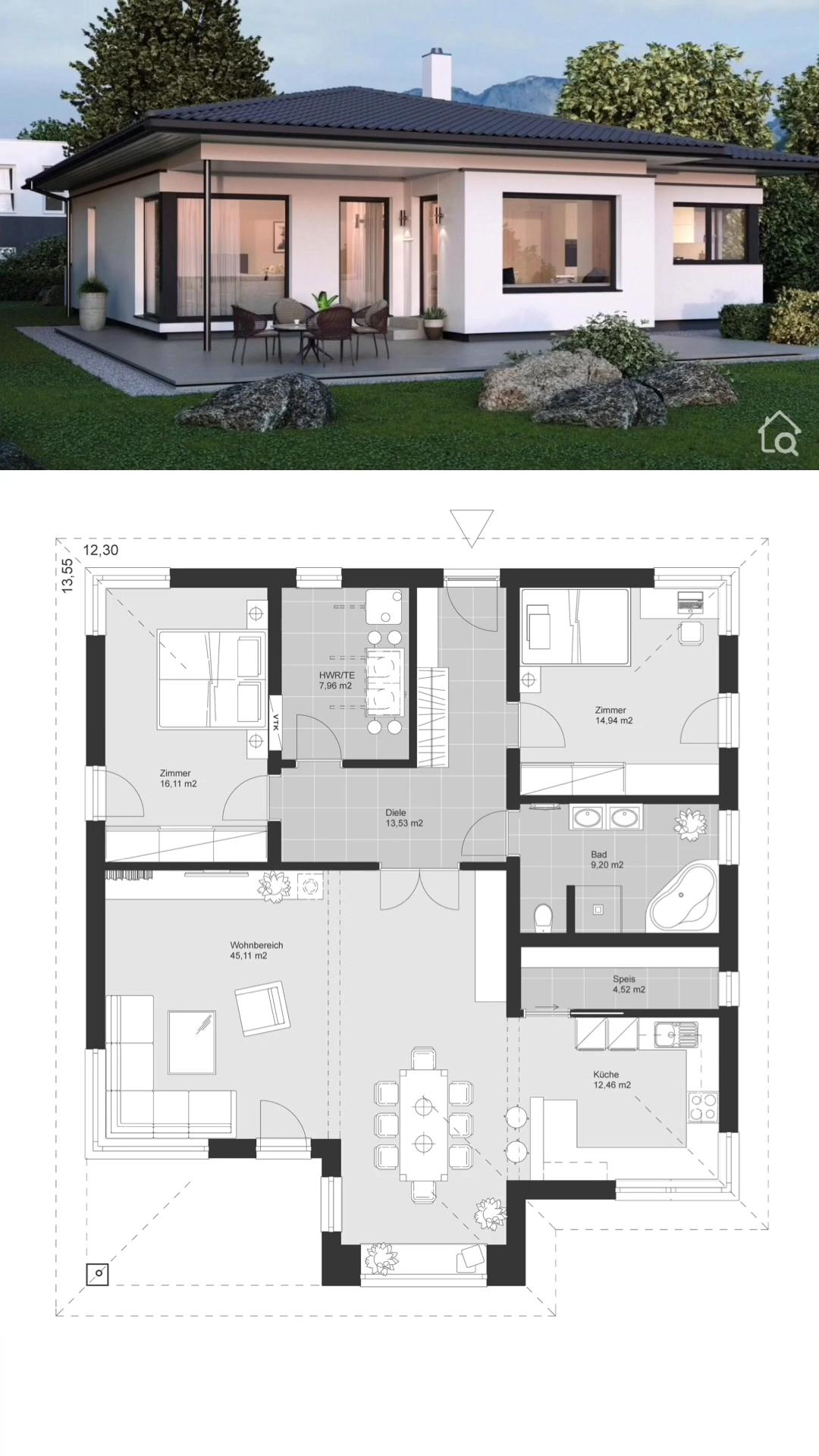 Bungalow House Modern European Architecture Floor Plans & Interior Design Ideas