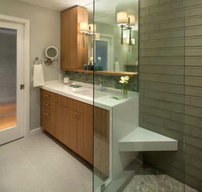 Bath Remodel - frosted glass door, Chk Modern vanity with storage