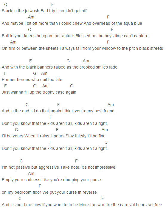 The Kids Aren T Alright Fall Out Boy Ukulele Tabs