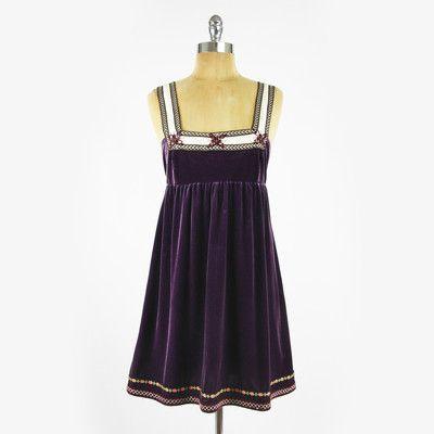 $118 FREE PEOPLE anthropologie VELVET EMBROIDERED ribbon BABYDOLL mini dress M $39.99