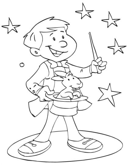 A young magician showing magic coloring page  proyecto circo