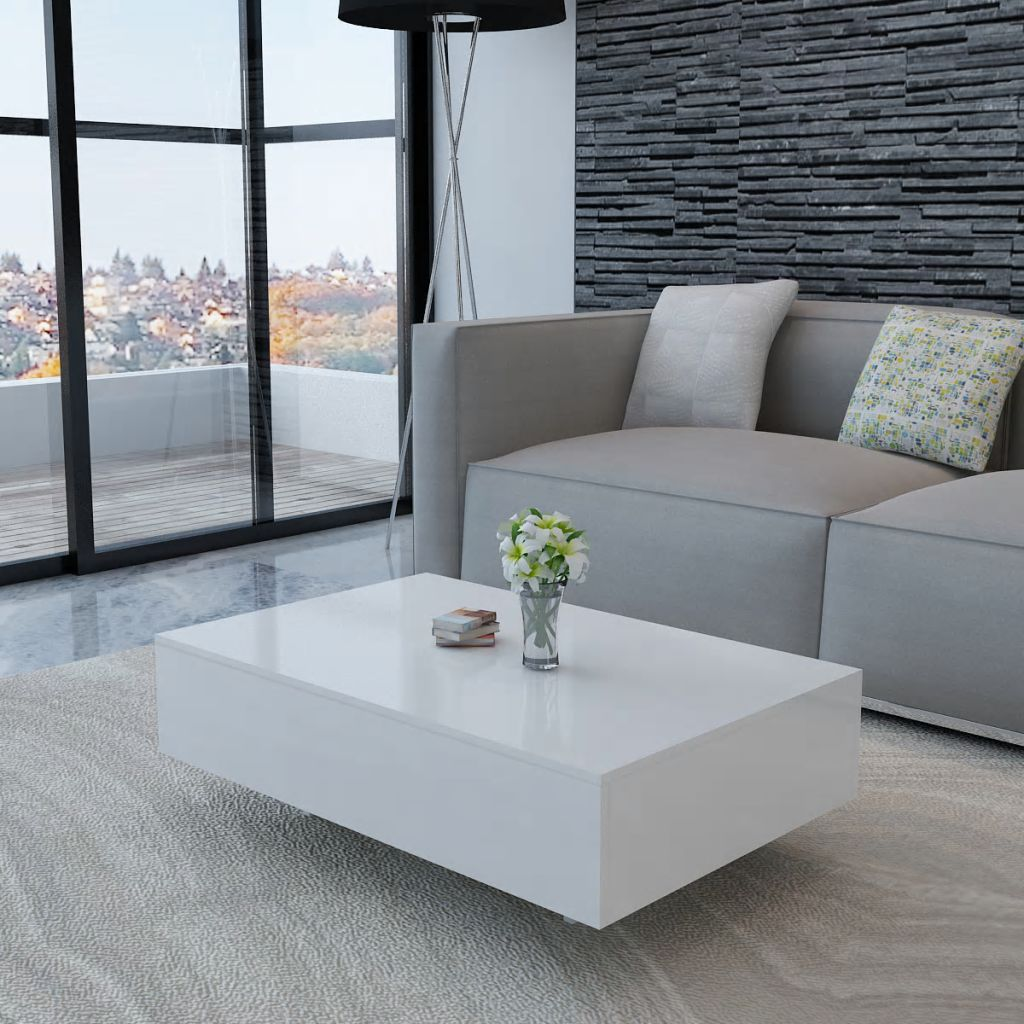vidaXL Coffee Table Accent Tea Side Living Room Stand 33.5/45.3 Multi Colors - White / 33.5 x 21.6 x 12.2