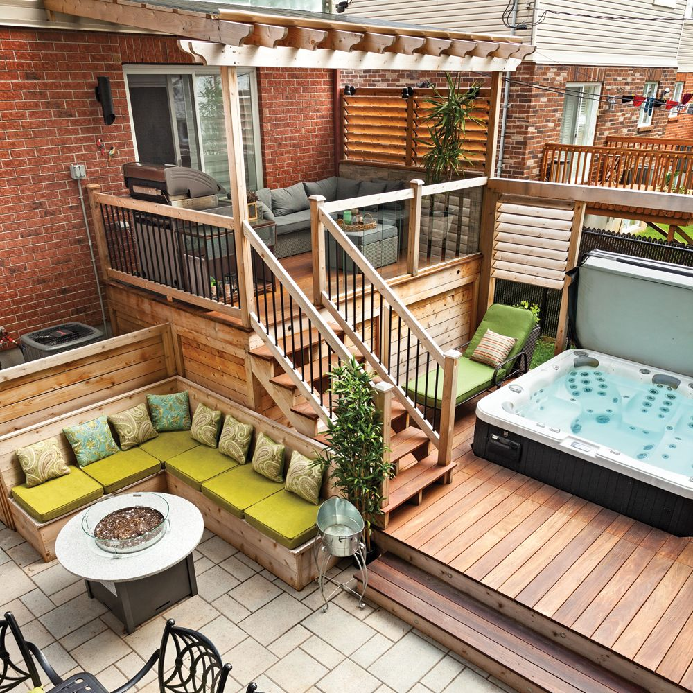 cour pour toute la famille am nagement ext rieur am nagement cour ext rieur patio couvert. Black Bedroom Furniture Sets. Home Design Ideas