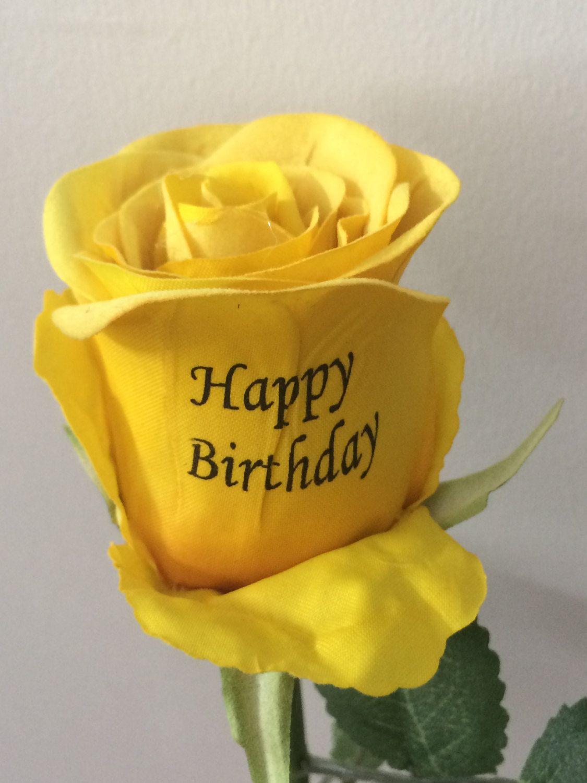 Happy Birthday Single Stem Silk Rose Silk Roses Happy Birthday Birthday