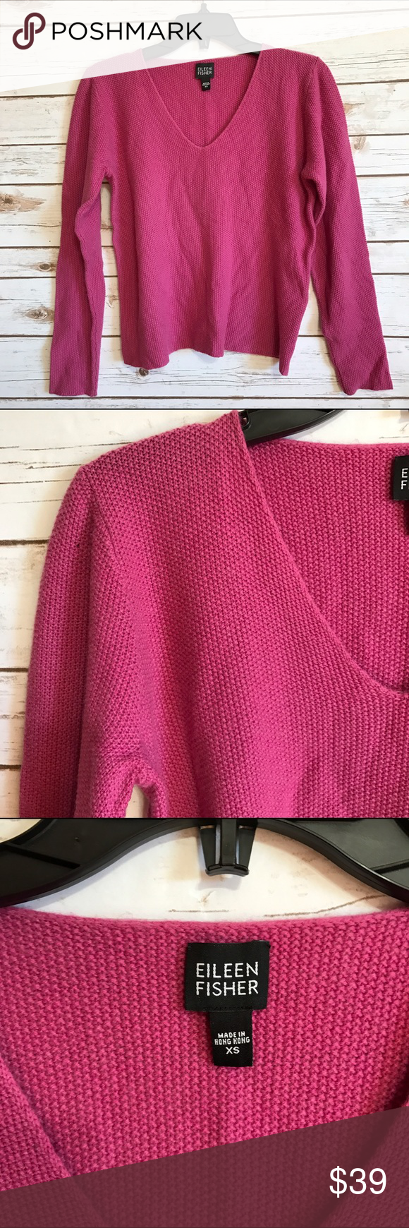 NEW LISTING💜 Eileen Fisher pink cashmere sweater Size XS. V-neck pullover textured sweater. 100% cashmere. EUC (2.20.0)  💟Fast 1-2 day shipping 💟Reasonable offers accepted 💟Purchase 3 or more items & get a special bundle rate!  💟Smoke-free home Eileen Fisher Sweaters V-Necks
