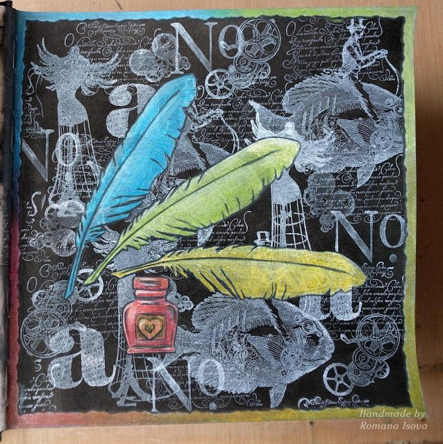 31 7 2016 art journal page dylusions black paint white pigment ink and coloured