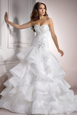 Vintage Lace-up Ball Gown Organza Beading Wedding Dress - Andyprom ...