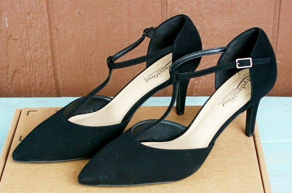 Details About City Classified Black Bahia Suede Heels Sz 7 Pointy Toe T Strap Low Kitten Heel In 2020 Suede Heels Womens Sandals Wedges Heels
