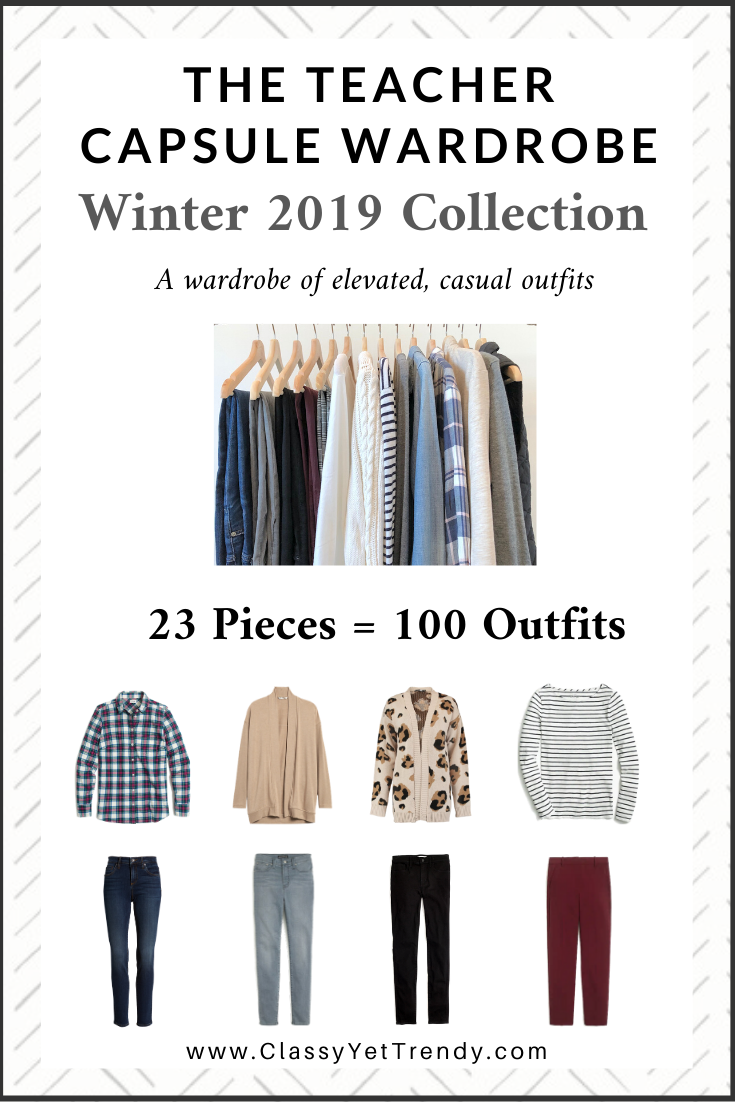 Teacher Capsule Wardrobe: Winter 2019 Collection - 100 outfit ideas from just 23 clothes and