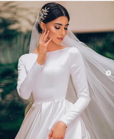 Simple Ball Gown Wedding Dresses Long Sleeve Boat Neck