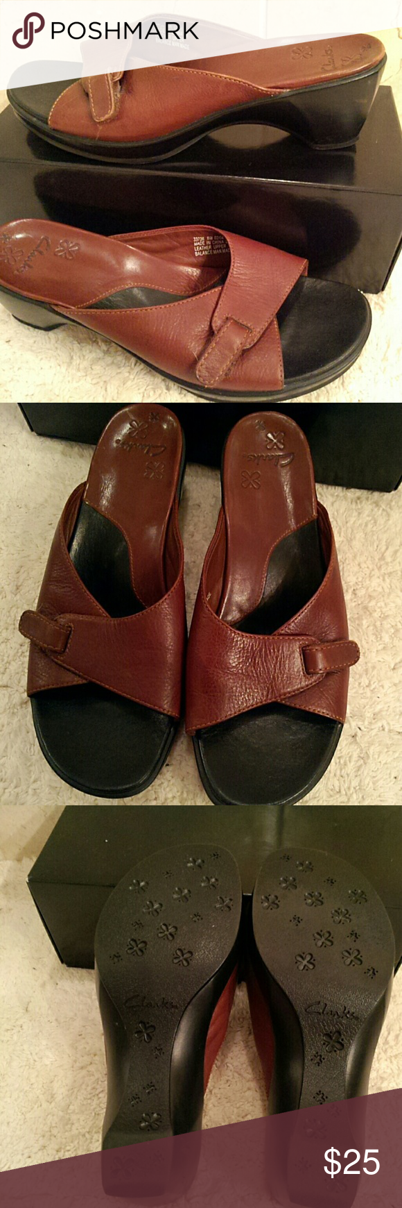"""Clarks soft brown leather sandals soft leather in a dark brown color; low heel 2.25""""; front panel has velcro for slight adjustment of width; Clarks brand; size 8W  (T-11) Clarks Shoes Sandals"""
