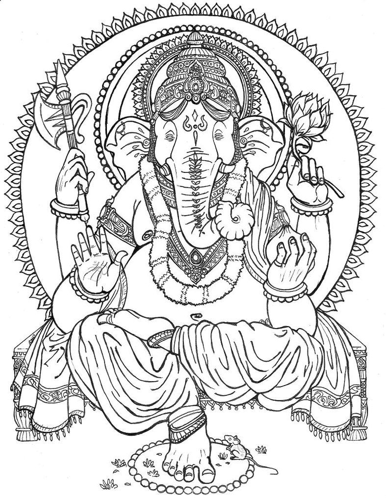 Lord Ganesha Outlined By Chewbaccabigsis On Deviantart Ganesha