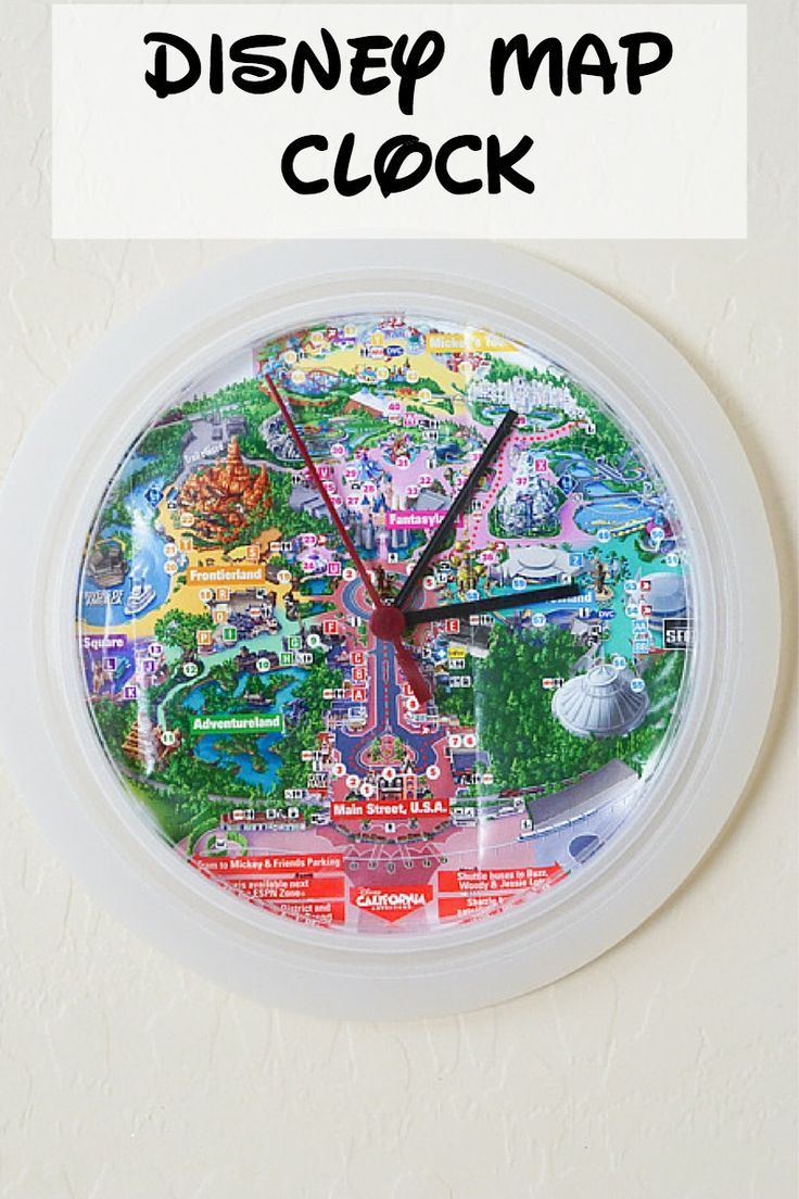 Diy disney map clock clocks disney crafts and craft looking for an easy yet fun project for your disney maps this diy disney map clock is made from an ikea clock and only takes about 10 minutes to make gumiabroncs Images