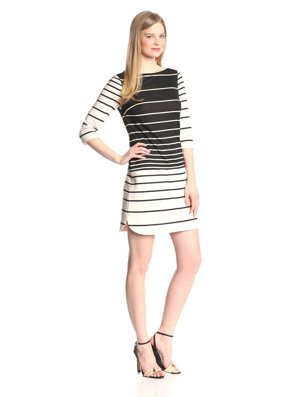 Three-Quarter Sleeve Striped Shift Dress by Donna Morgan