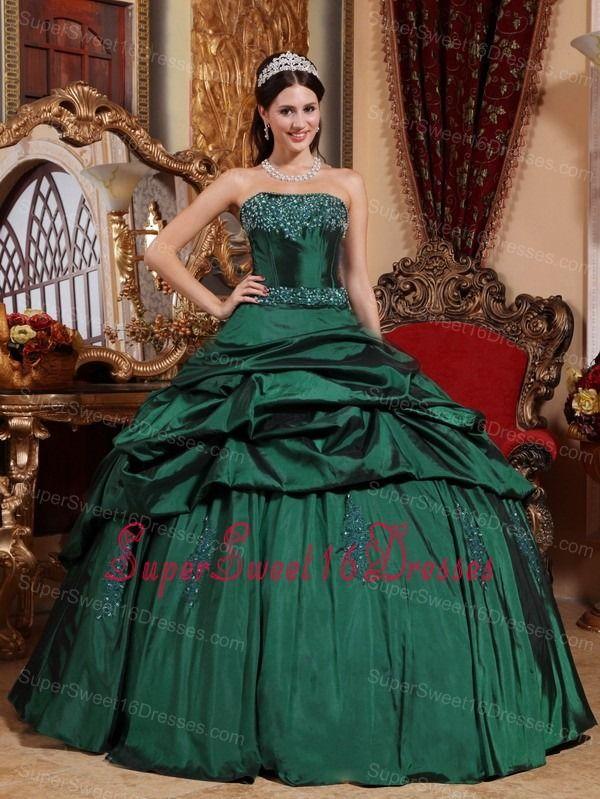 4ed59deb99f Popular Emerald Green Sweet 16 Dress Strapless Taffeta Beading Ball Gown