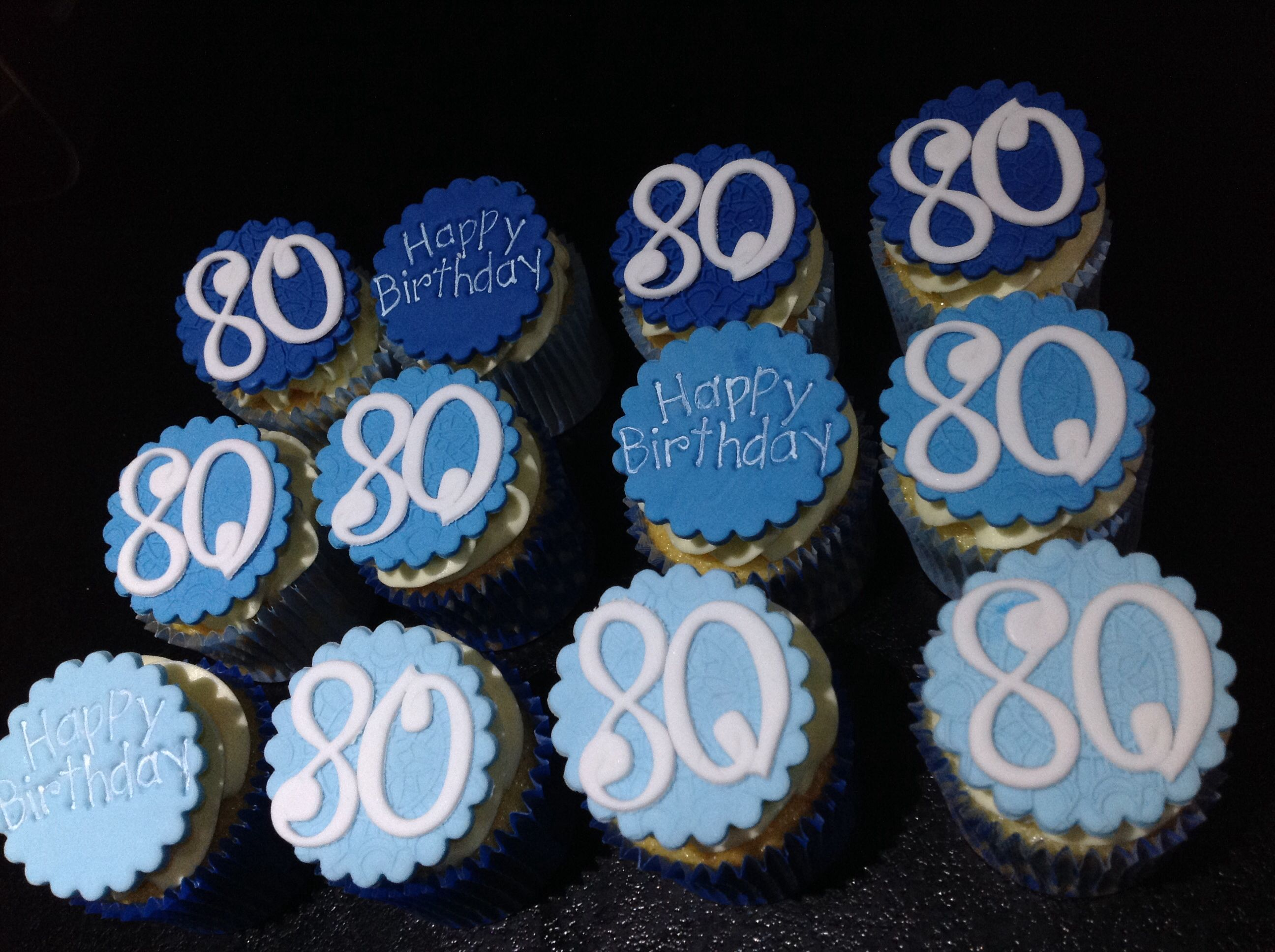 Astounding 80Th Birthday Cupcakes Birthday Cake Bakery Cupcake Birthday Personalised Birthday Cards Rectzonderlifede