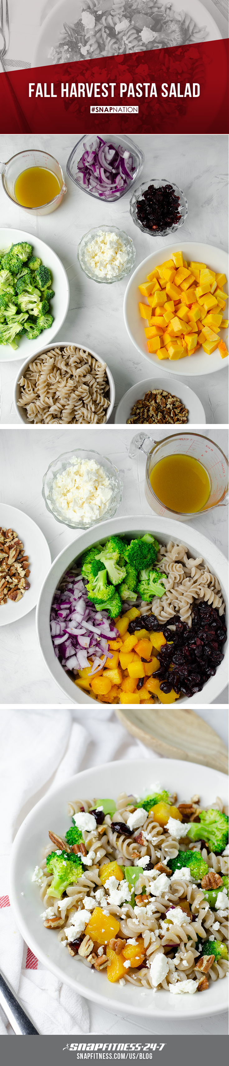 """For the Salad: 2 cups gluten free rotini pasta, uncooked 2 cups butternut squash, cut into 1⁄2"""" cubes 2 cups raw broccoli florets 2⁄3 cup red onion, peeled and chopped 2⁄3 cup dried cranberries 1⁄3 cup chopped pecans 4 oz feta cheese, crumbled 2-3 tsp olive oil 1⁄2 tsp salt  For the Dressing: 2 Tbsp olive oil 2 Tbsp maple syrup 1 Tbsp Apple Cider Vinegar 1 tsp dijon mustard Pinch of salt, or more to taste 1/8 tsp freshly cracked pepper"""