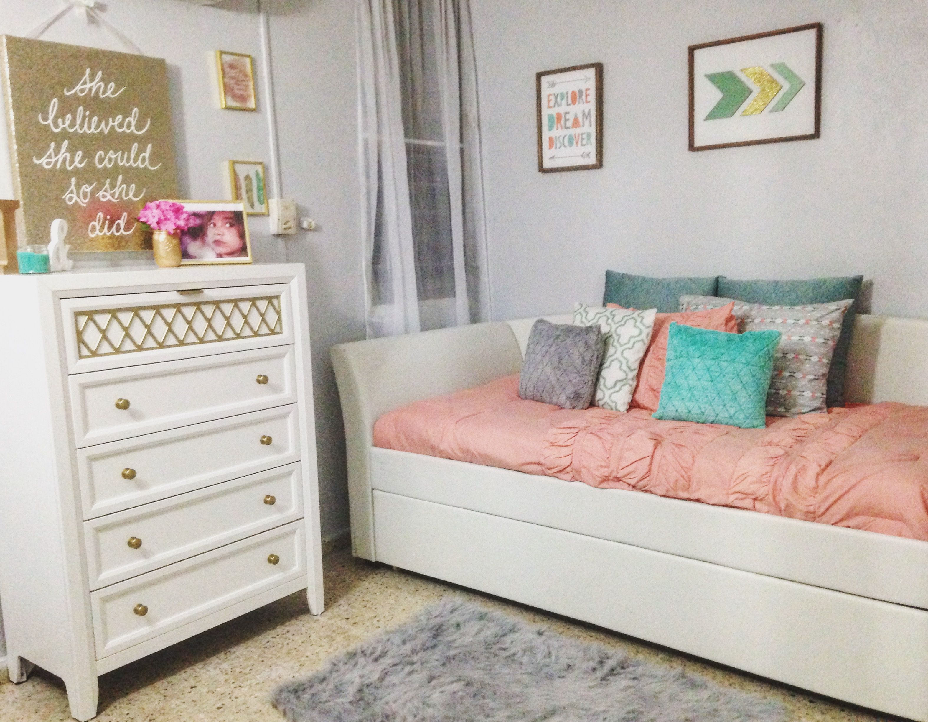 Gold grey coral and teal Girls Room Pinterest