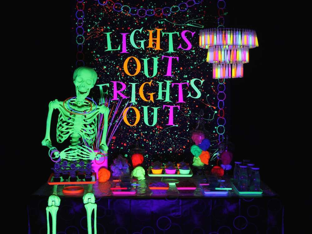 Neon Glow In The Dark Halloween Party Ideas Photo 1 Of 19 Glow Halloween Neon Party Decorations Glow Party