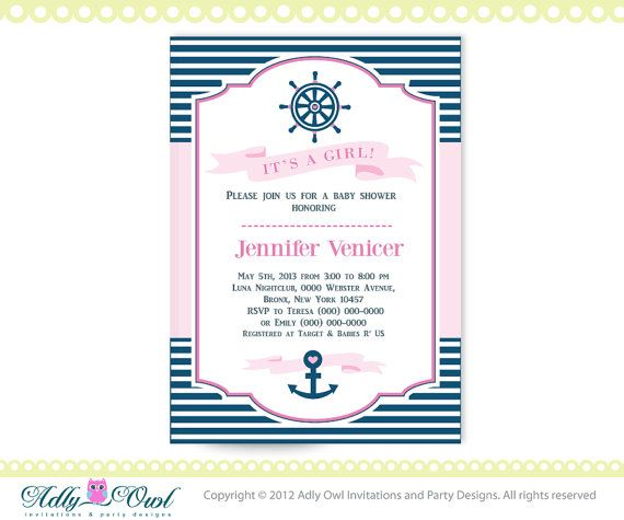 itu0027s a girl nautical baby shower for baby girl printable diy party birthday invitation pink