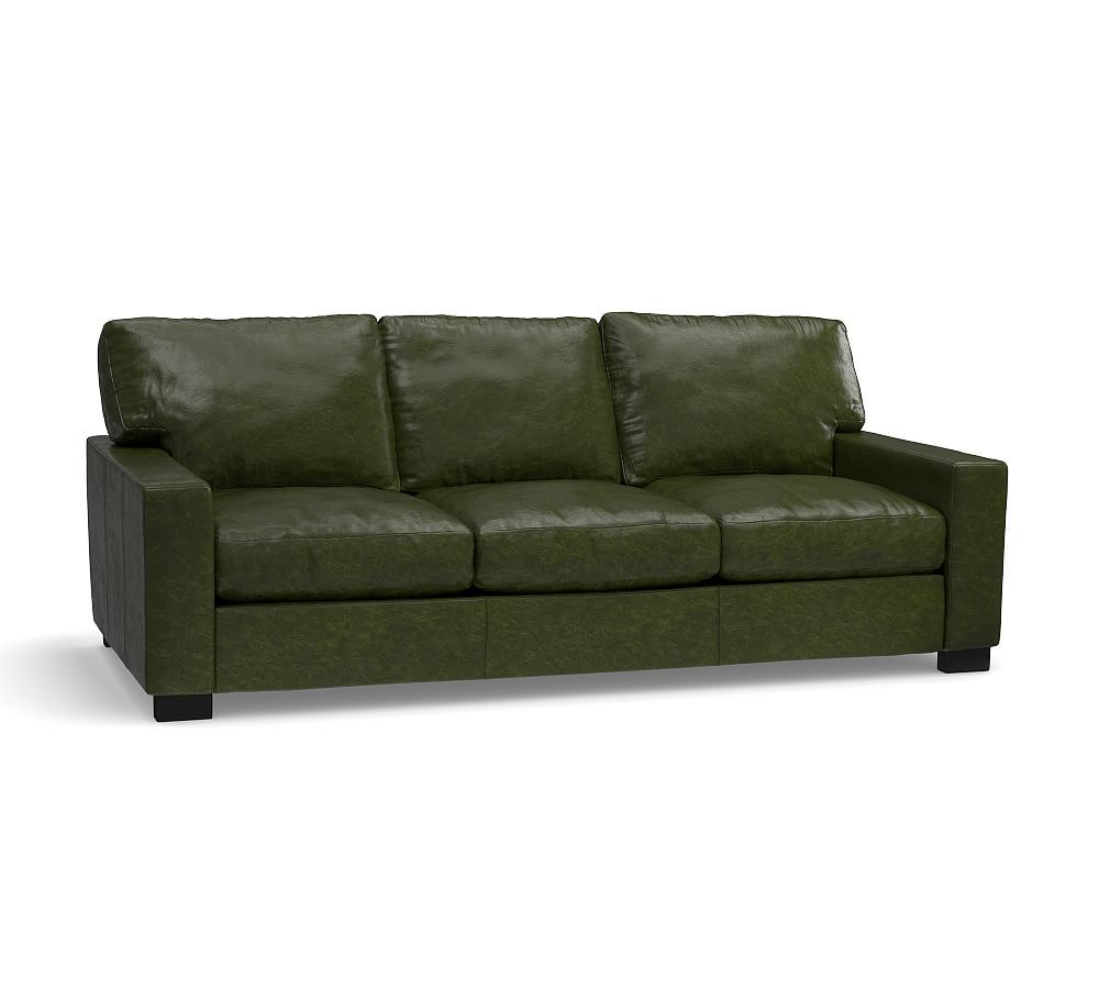 Turner Square Arm Leather Sleeper Sofa, Polyester Wrapped ...