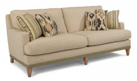 Ocean Fabric Sofa With Nailhead Trim By #Flexsteel Via Flexsteel.com