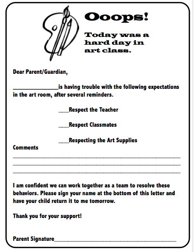 "behavior letter to parents- I could make one of these for each ""special area"" teacher and have him/her sign this before sending it home"