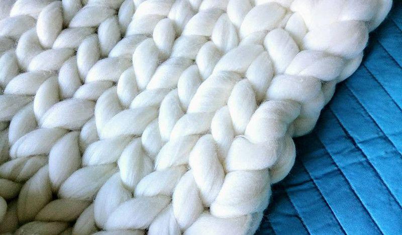 Grubo Pleciony Koc Pled Biały Deco By Karo Pościel New Flat