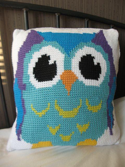 Tunesian Crochet Owl Pillowcase 1 pattern by Nina H | Pinterest ...