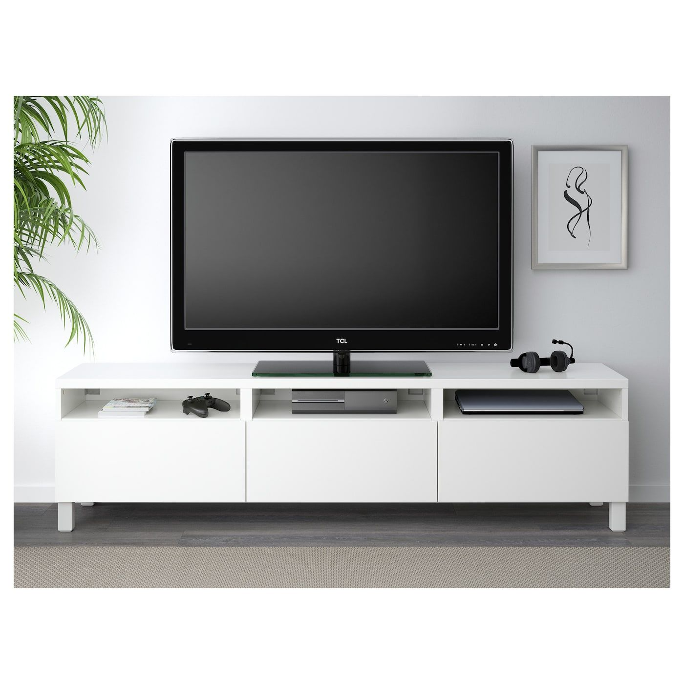 Tv Meubel Mat Glas.Besta Tv Meubel Met Lades Lappviken Wit Tv Bank Meubels En Tv