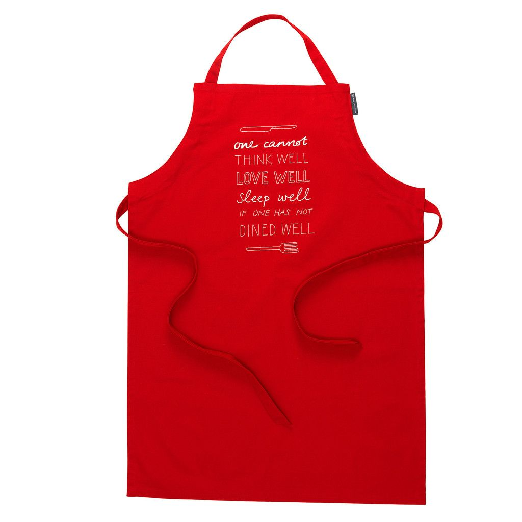 Fine Cell Work Red Organic Cotton Apron £36 Fine Cell Work is a charity and social enterprise that runs rehabilitation projects in 30 British prisons by training prisoners in paid, skilled, creative needlework, undertaken in the long hours spent in their cells, to foster hope, discipline and self-belief.