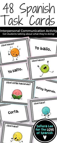 Spanish Task Cards - Present Tense Verbs, Present Progressive ...