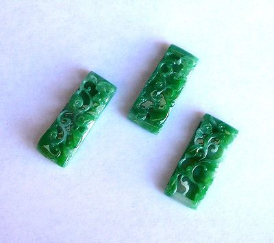 Set of 3 Chinese Green Jadeite Ru Yi Peach Carving Pendant