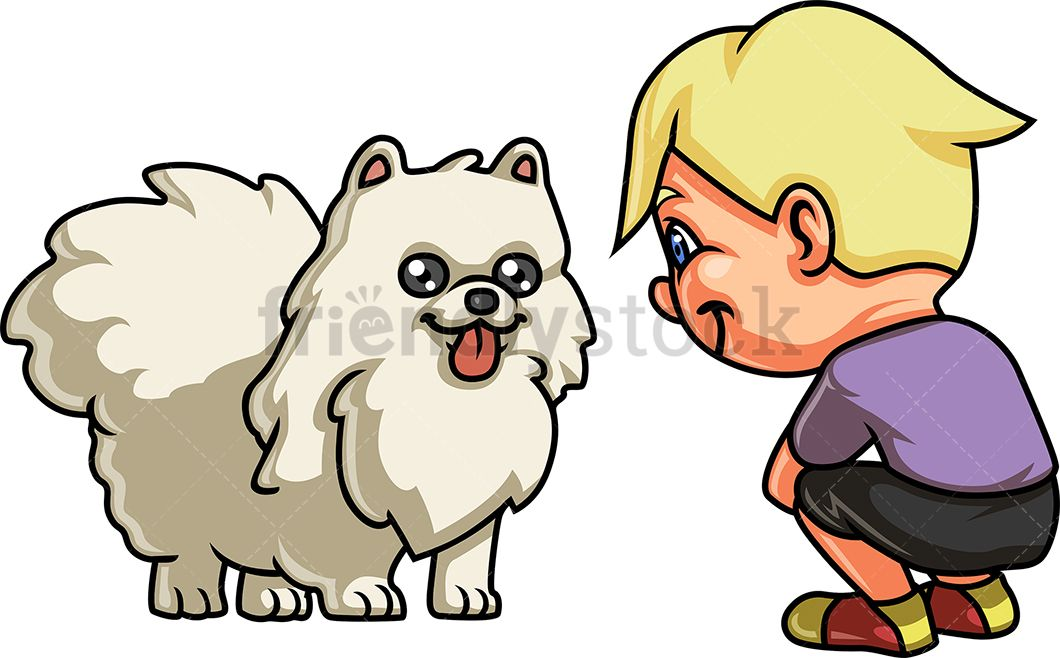 Boy With White Dog Cartoon Clipart Vector - FriendlyStock | Dog behavior, White  dogs, Dog thoughts