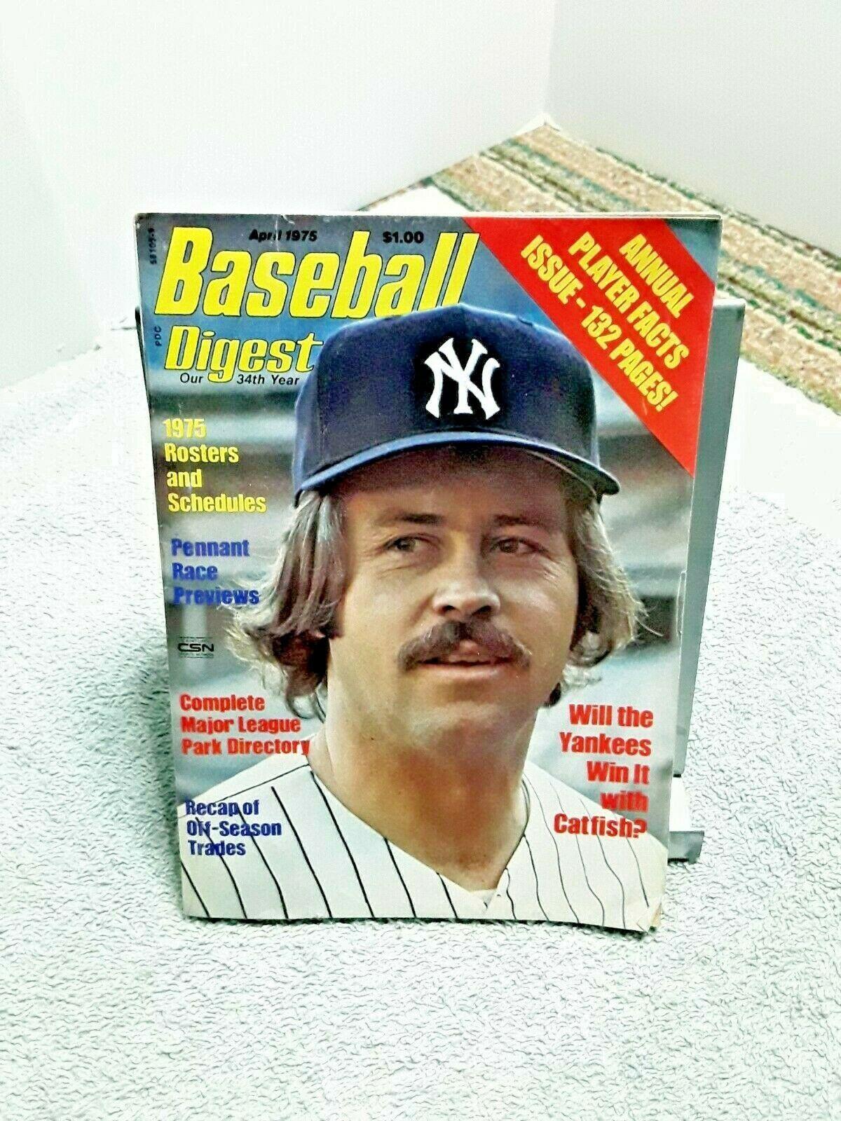 Baseball Digest April 1975 Jim Catfish Hunter New York