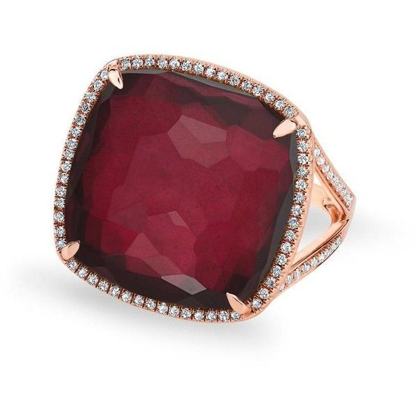 14kt rose gold diamond garnet laguna triplet cushion cut cocktail