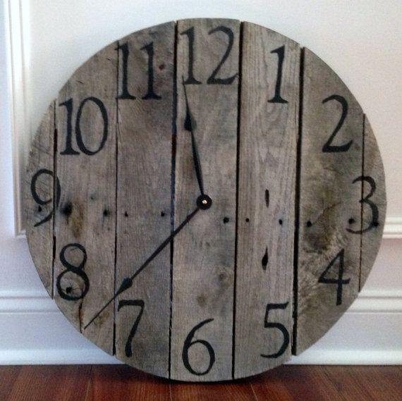 Large Rustic Pallet Wood Wall Clock Clock Wood Pallets