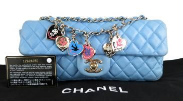 Chanel Blue Lambskin Valentine East E/w Classic 2.55 Bag Rare