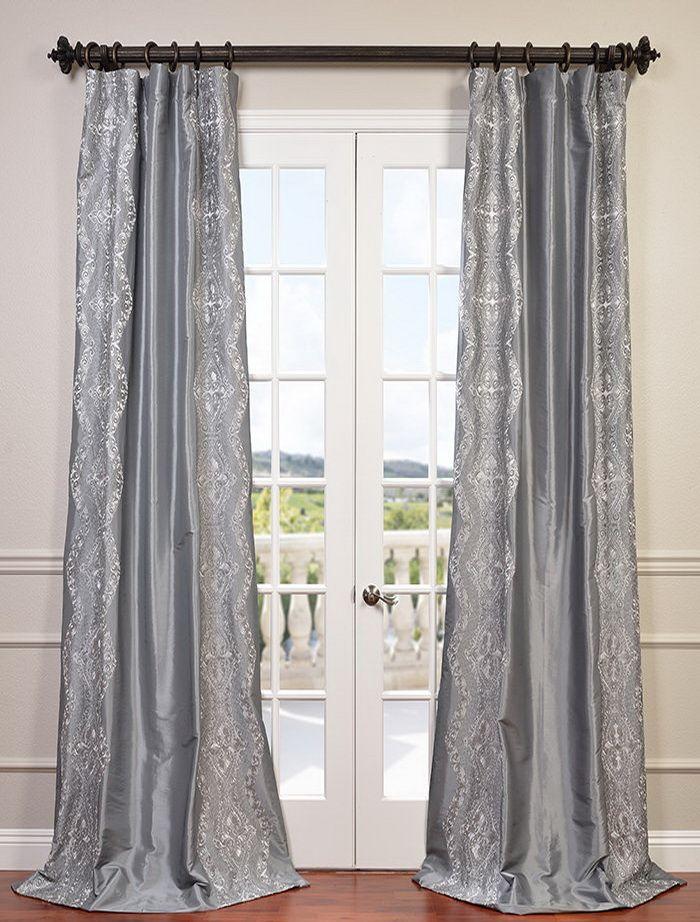 Chai Silver Embroidered Faux Silk Taffeta Curtain Half Price Drapes Drapes Curtains Faux Silk Curtains