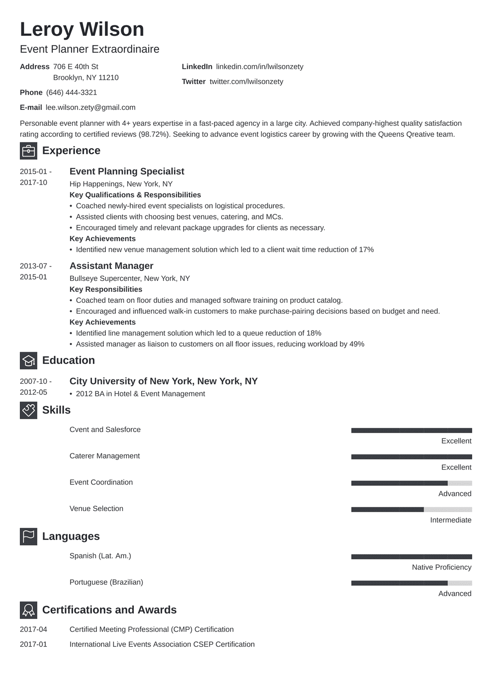 event planner resume template newcast in 2020 Event
