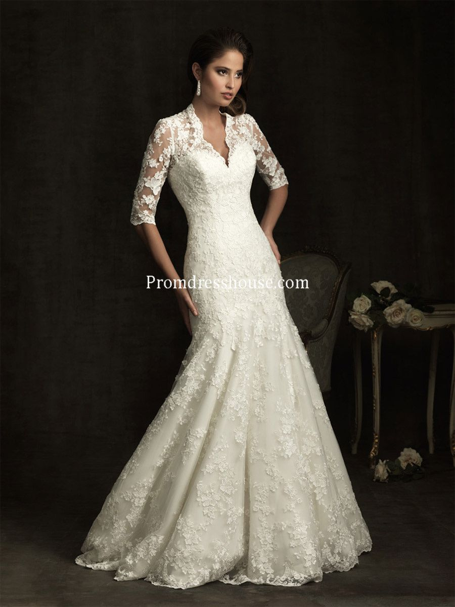 Mermaid wedding dresses with sleeves  Lace Mermaid Vneck Draping Embroidery Half Sleeve Wedding Dress