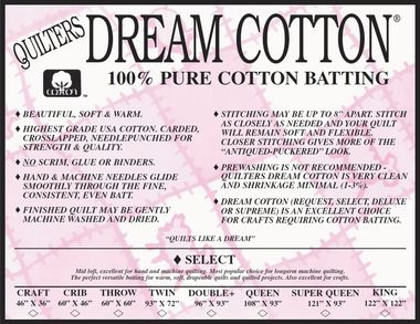 Dream Blend for Machines Quilters Dream Batting Cotton Poly Blend Mid Loft Medium Weight Throw Size Natural Color