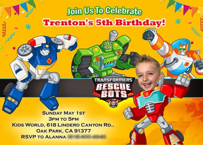 Printable Transformers Rescue Bots Photo Invitation Cake Birthday Festa Transformer