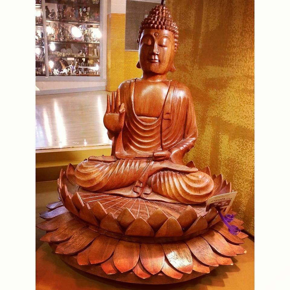 Stunning wooden buddha sculpture sitting on top of lotus flowers stunning wooden buddha sculpture sitting on top of lotus flowers made in thailand izmirmasajfo