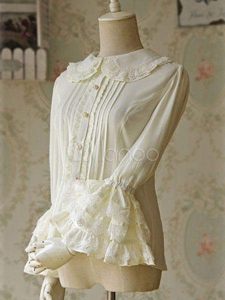 985a7f65d06e0 White Lolita Blouse Bell Sleeves Chiffon Lace Shirt for Women in ...