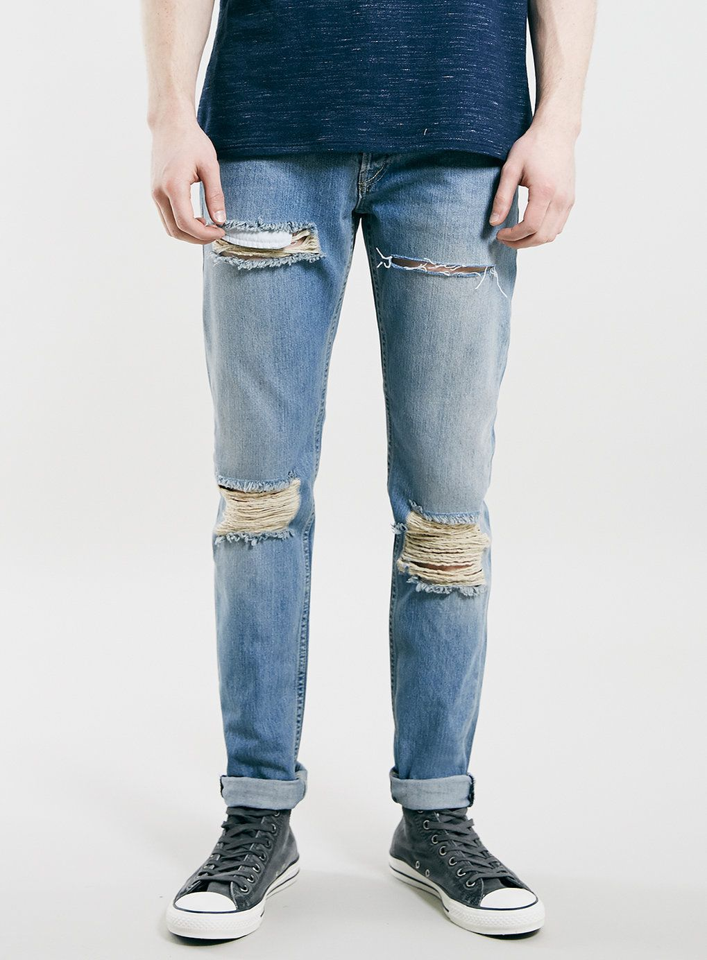 38b0a5cadf1 Light Blue Blow Out Knee Classic Skinny Jeans - Topman | Fashion ...
