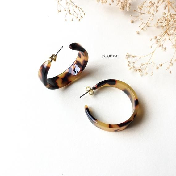 7f184d71c 33mm, 43mm Dark Brown Tortoise Wide Hoop Acrylic Acetate Earrings | tortoise  shell earrings | tortoise hoops | acetate hoop earrings | T-2