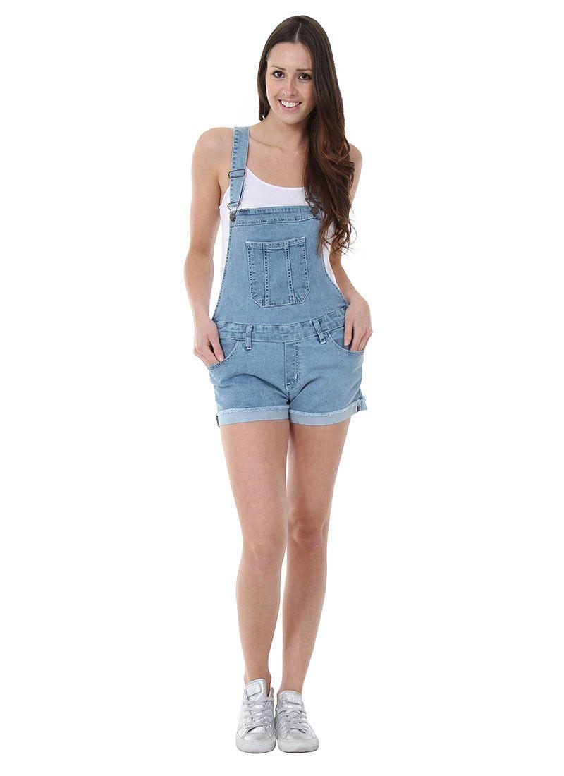 3569b0bef24 Womens Bib Overall Shorts Bib Overall Shorts Denim Dungaree Shorts