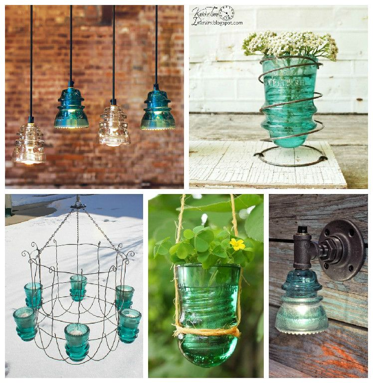 30 creative ideas using vintage glass insulators wooden for Vintage glass telephone pole insulators